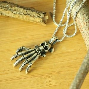 Sterling Silver SKULL & HAND'S BONE Men's Necklace
